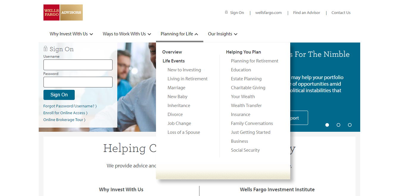 wells fargo investment plans login