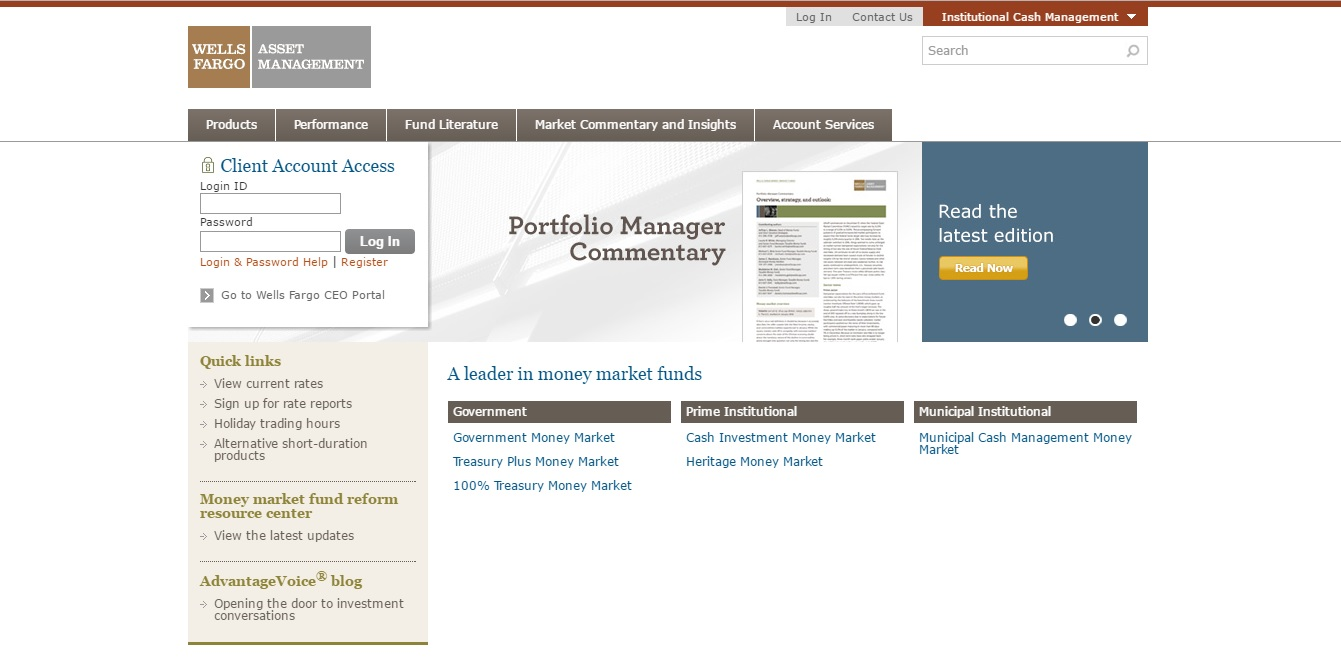 wells fargo institutional cash management login