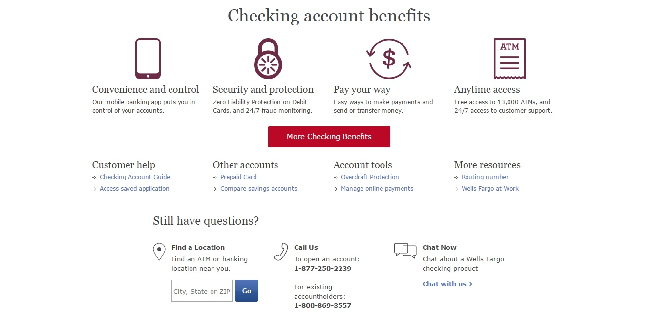 wells fargo checking account benefits