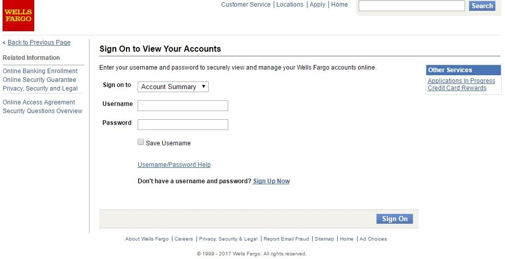 wells fargo checking account login