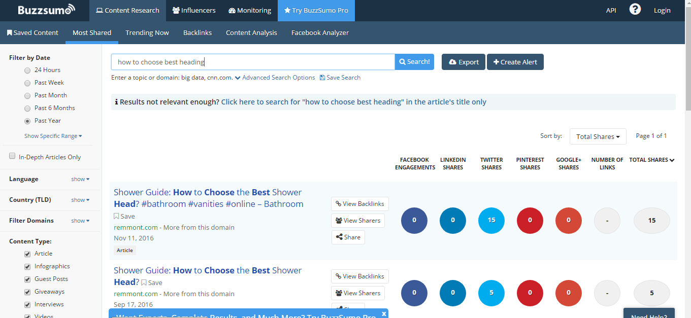 Content Writing Buzzsumo