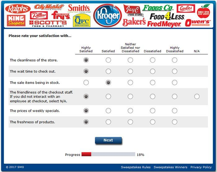 kroger feedback - rate kroger services