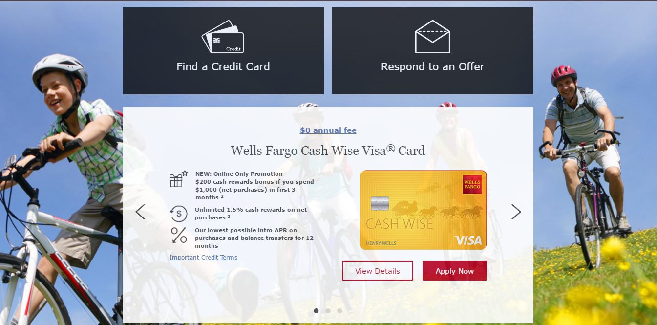 wells fargo login credit card