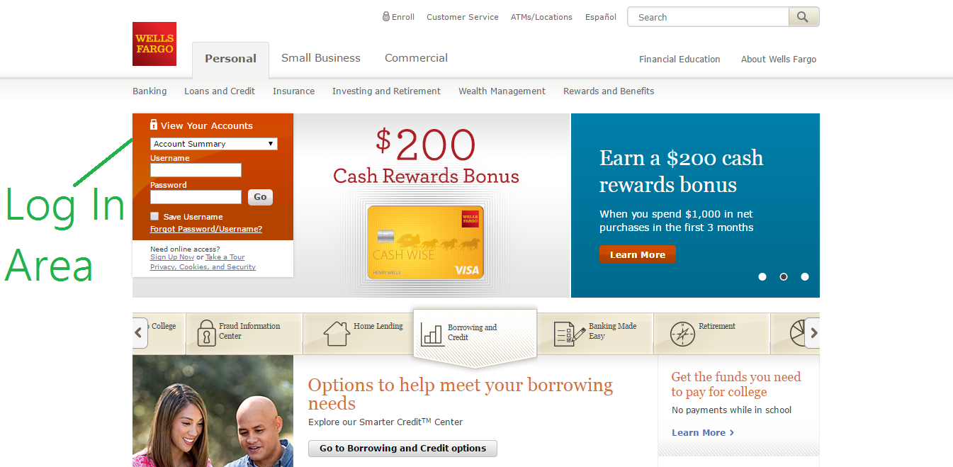 wells fargo login page