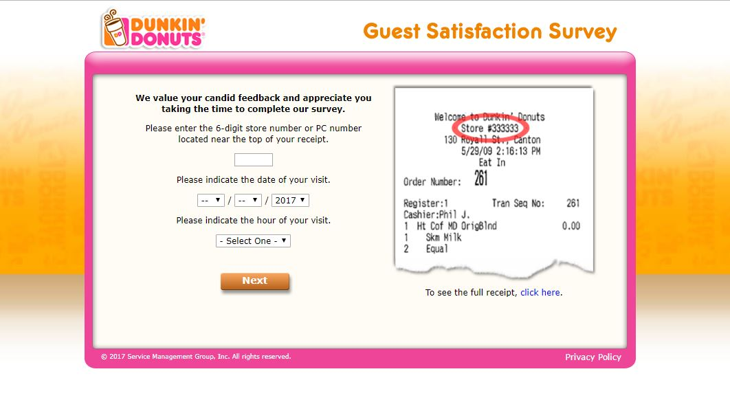 telldunkin - store number , date & time