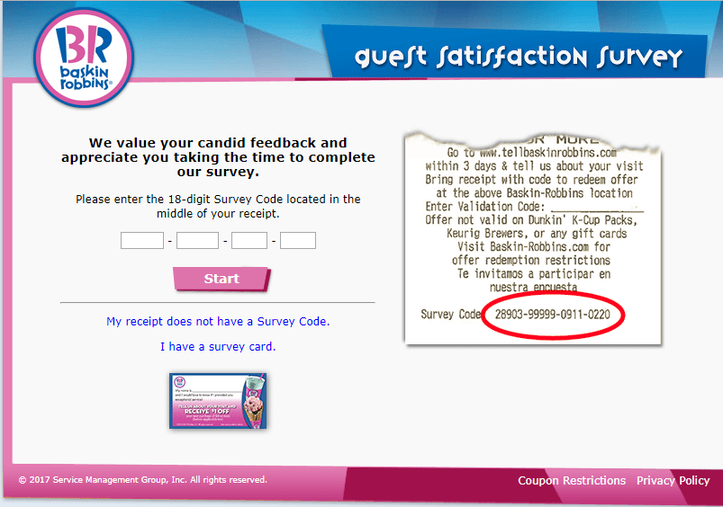 tell baskin robbins - enter survey code