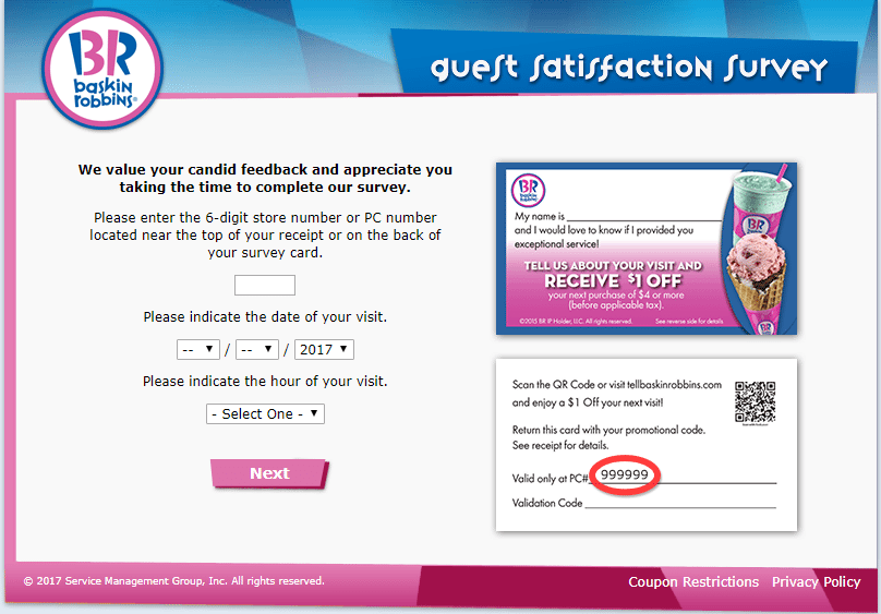 tell baskinrobbins - enter date and time