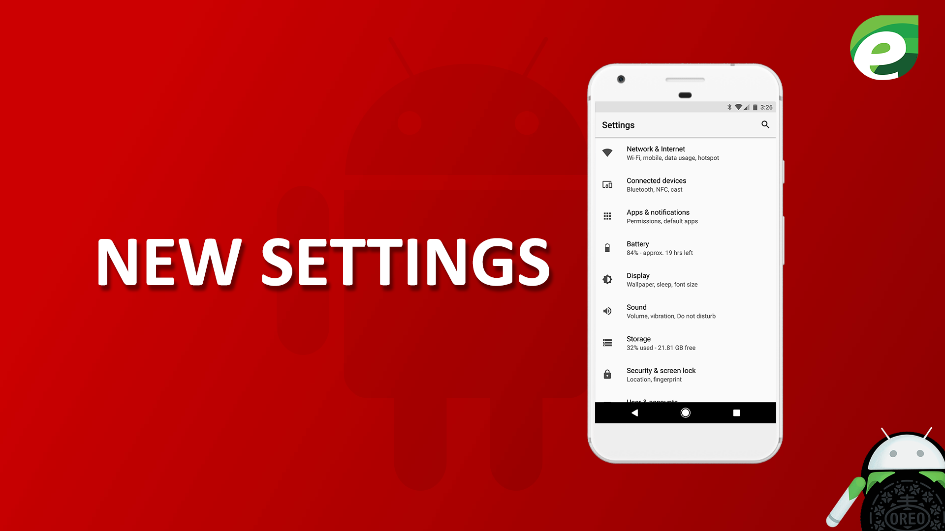 Android oreo- New settings