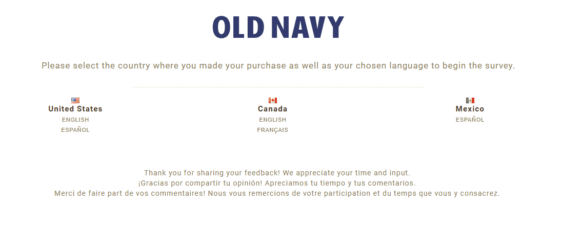 old navy survey - choose country
