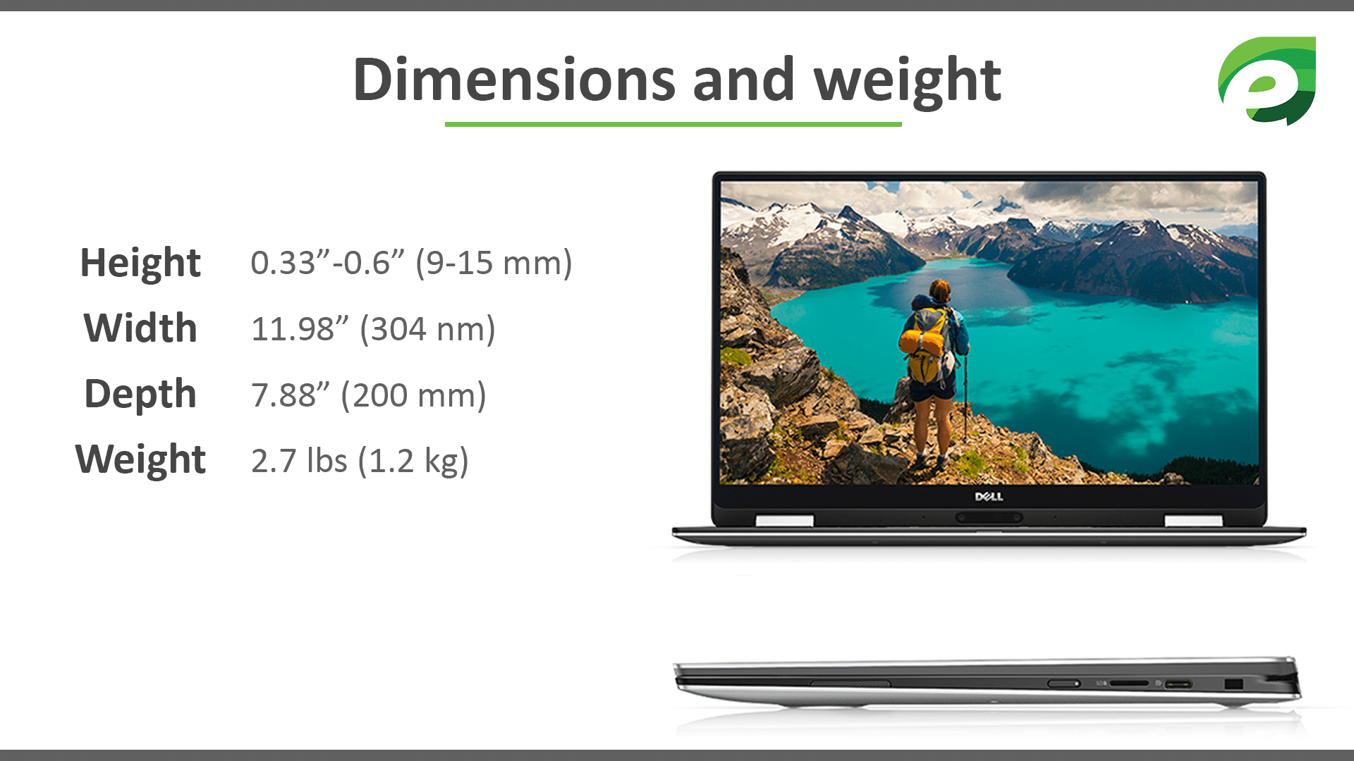 Dell XPS 13- dimensions