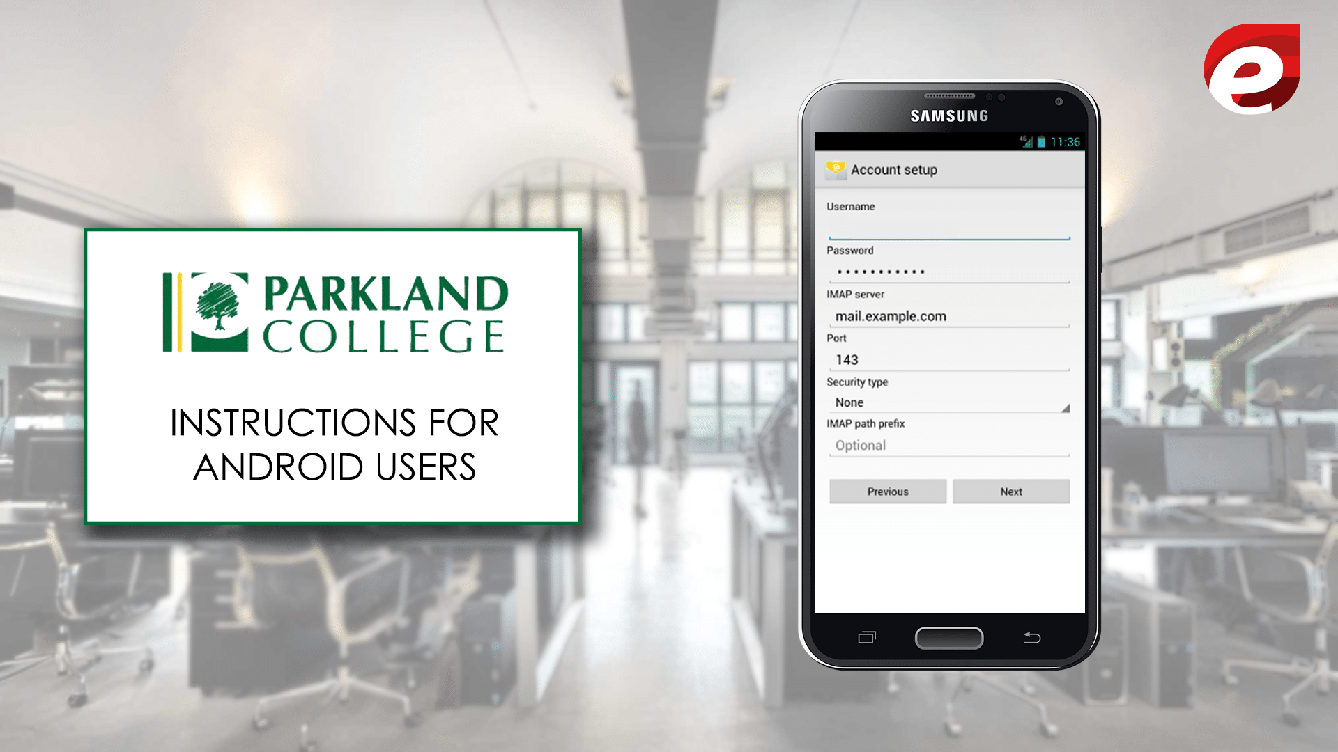 Instruction for android users- Parkland webmail